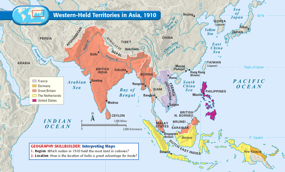 Map Of Asia 1914.Imperialism In Asia Mrs Flowers History